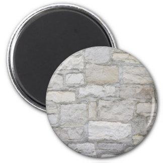 Mur en pierre gris magnet rond 8 cm