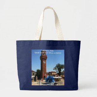 Murano, Italien-Glockenturm und Glasskulptur Jumbo Stoffbeutel