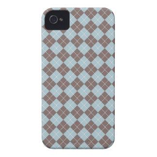 Mûre à motifs de losanges bleue brune mignonne de coque iPhone 4 Case-Mate
