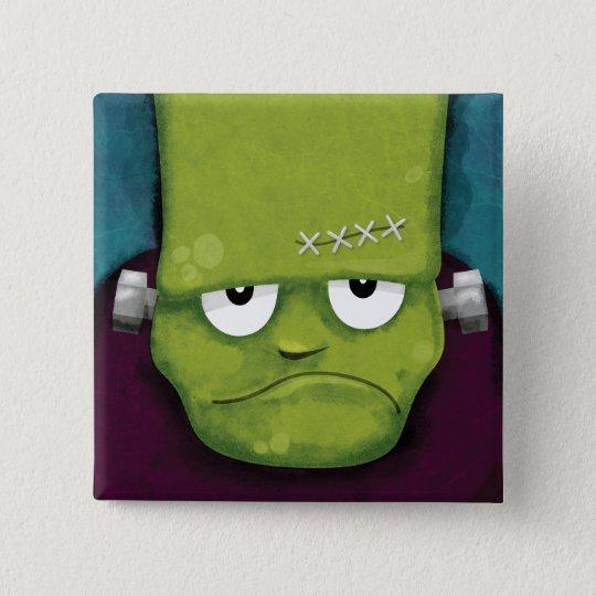 Mürrische Frankenstein   Halloween Neuheit Quadratischer Button 5,1 Cm