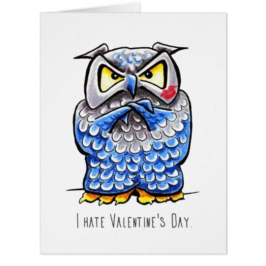 Mürrischer Eulen-Hass-Valentinstag Riesige Grußkarte