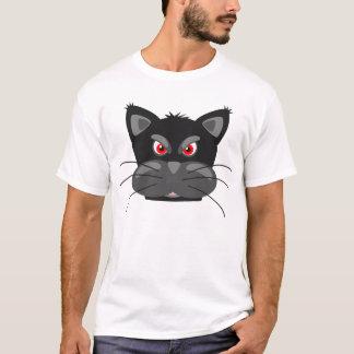 Mürrischer schwarze Katzen-Cartoon-lustiger T - T-Shirt