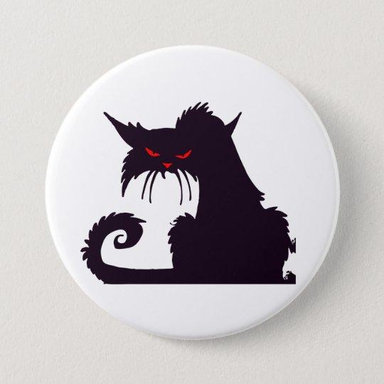 Mürrischer schwarze Katzen-Knopf Runder Button 7,6 Cm