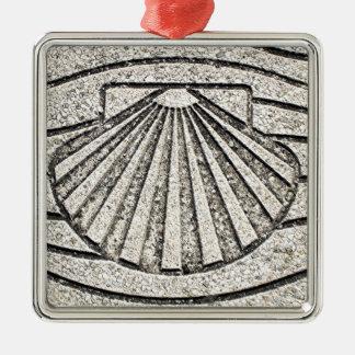Muschel EL Camino, Plasterung, Spanien Silbernes Ornament