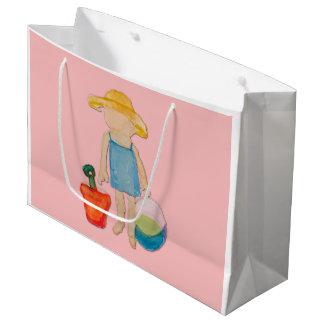 Muschel-rosa Kleinkind-Baby-Mädchen am Strand Große Geschenktüte