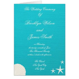 Muscheln auf Strand-Hochzeits-Zeremonie-Programmen Mitteilungskarte