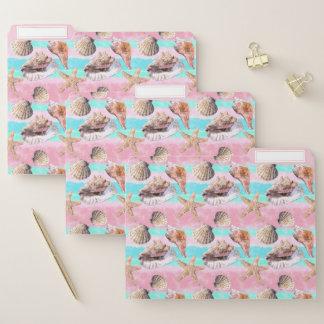 Muscheln-Rosa und TürkisWatercolor Papiermappe