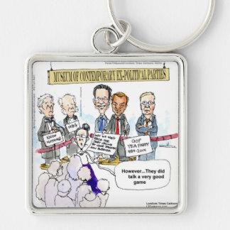 Museum der ex politische Partys-lustigen Geschenke Silberfarbener Quadratischer Schlüsselanhänger