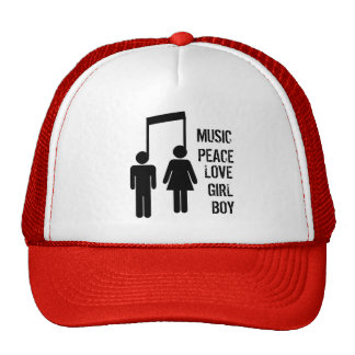 MUSIC, LOVE, PEACE, gehe ich, GIRL Kultmütze