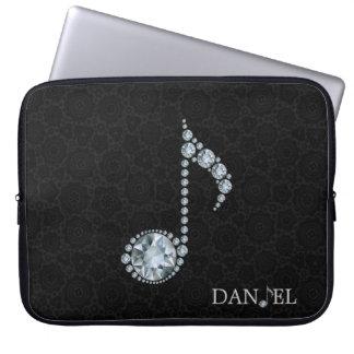 Musik-Anmerkungs-weiße Diamanten über Schwarzem Laptop Sleeve