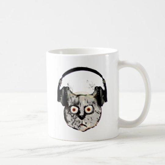 Musik-DJ-Katze mit Kopfhörer Kaffeetasse