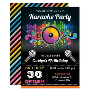 Musik-Geburtstags-Einladung des Karaoke-Party-  Karte