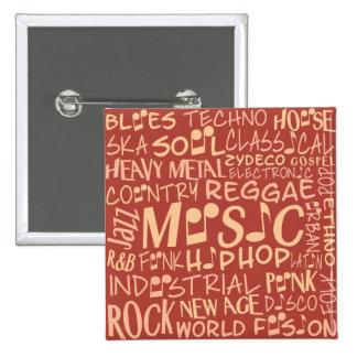 Musik Genres-Wort-Collagenknopf Quadratischer Button 5,1 Cm
