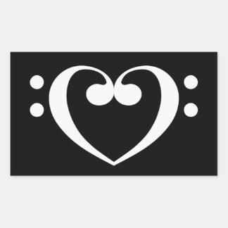 Musik-Herz Rechteckiger Aufkleber