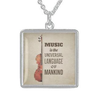 Musik ist die universelle Sprache der Menschheit Sterling Silberkette