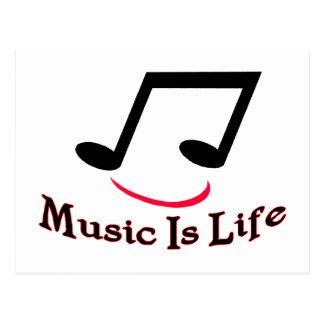 Musik ist Leben-musikalische Anmerkungs-smiley Postkarte