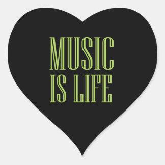 """""""Musik ist Leben-"""" Schwarzes und Grün Herz-Aufkleber"""