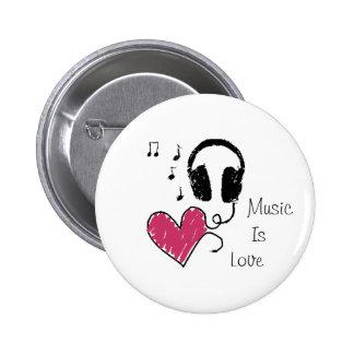 Musik ist Liebe Runder Button 5,1 Cm