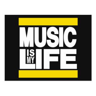 Musik ist mein Leben-Gelb Postkarte