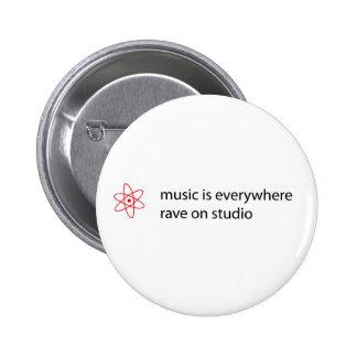 Musik ist überall Rave auf Studioknopf Runder Button 5,7 Cm