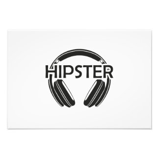Musik-Kopfhörer-Hipster Fotografischer Druck