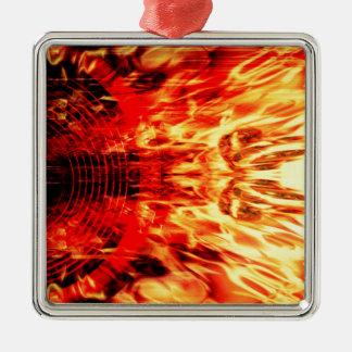 Musik-Lautsprecher mit Flammen Quadratisches Silberfarbenes Ornament