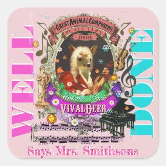 Musik-Lehrer-Belohnungs-Aufkleber Vivaldi Rotwild Quadratischer Aufkleber