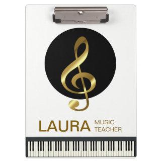 Musik-Lehrer-Goldklavier-Tastatur-Musiker DJ Klemmbrett