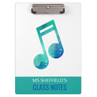 Musik-Lehrer-Klasse merkt den personalisierten Klemmbrett