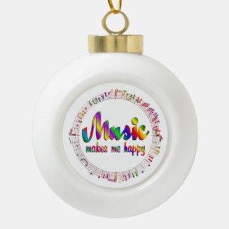 Musik macht mich glücklich keramik Kugel-Ornament