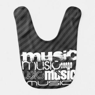 Musik; Schwarze u. dunkelgraue Streifen Lätzchen