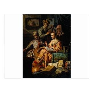 Musikalische Allegorie durch Rembrandt Postkarte