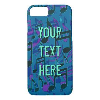 Musikalische Anmerkungs-Musik-Muster-blaues Grün iPhone 7 Hülle