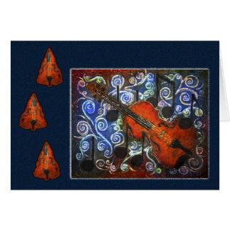 Musikalische Belustigung - Geigen-Feiertags-Karte Grußkarte