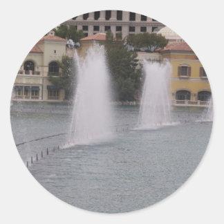 MUSIKALISCHE Brunnen neue LAS- VEGASkanal-Gebäude Runder Aufkleber