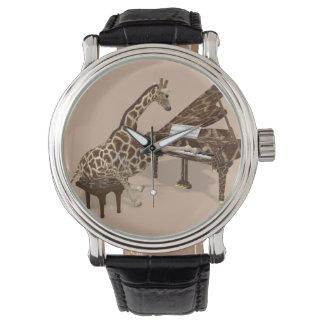 Musikalische Giraffe, die Flügel spielt Armbanduhr