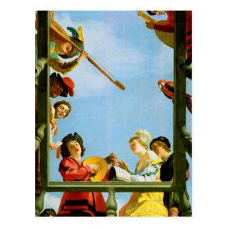 Musikalische Gruppe auf Balkon-klassischer Postkarten