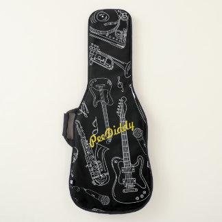 Musikalische Intsrument Skizzen auf Schwarzem mit Gitarrentasche