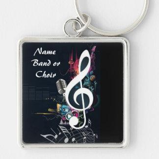 Musikalische Spalten-Anmerkung abstrakt Silberfarbener Quadratischer Schlüsselanhänger