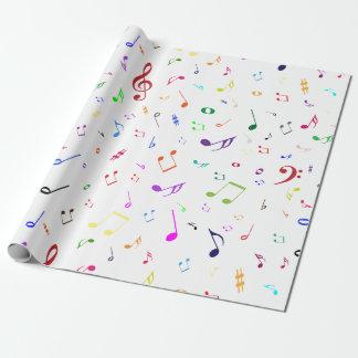 Musikalische Symbole in den Regenbogen-Farben Geschenkpapier