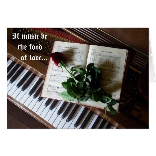Musikalische Valentinsgruß-Klavier Schlüssel und Grußkarte