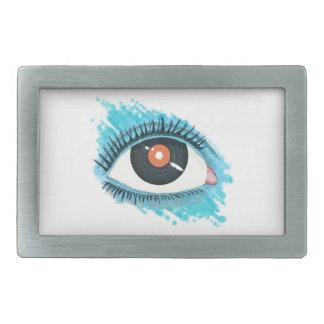 Musikalische Vision: eye illustration with vinyl Rechteckige Gürtelschnalle