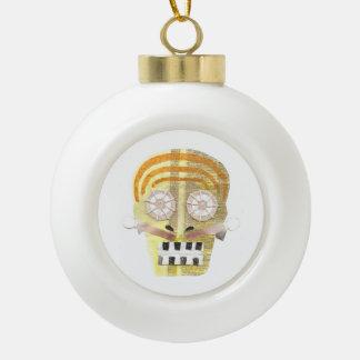 Musikalischer Schädel-Flitter Keramik Kugel-Ornament