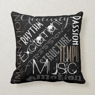 Musikalisches Ausdruck-Schwarz-, weißes und Kissen
