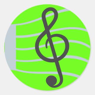 Musikalisches Blatt Emoji Runder Aufkleber