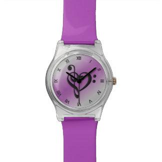 Musikclef-Herz-lila römische Ziffern Uhr