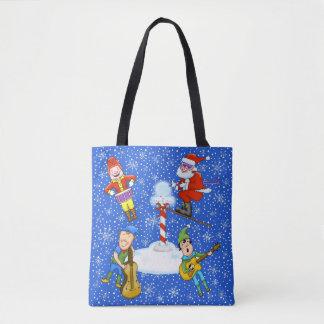 Musiker-Elfe mit Sankt-WeihnachtsTaschen-Tasche Tasche