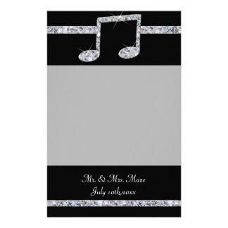 Musikfreund-Diamant-Schimmer auf schwarzer Briefpapier