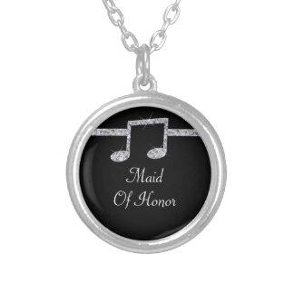 Musikfreund-Diamant-Schimmer auf schwarzer Versilberte Kette