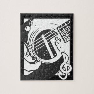 Musikfreund-Gitarren-Spielen Schwarzweiss